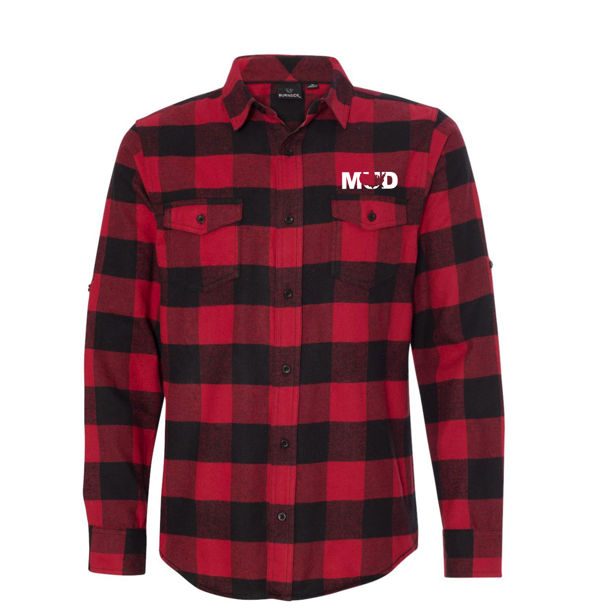 Mud United States Classic Unisex Long Sleeve Flannel Shirt Red/Black Buffalo (White Logo)