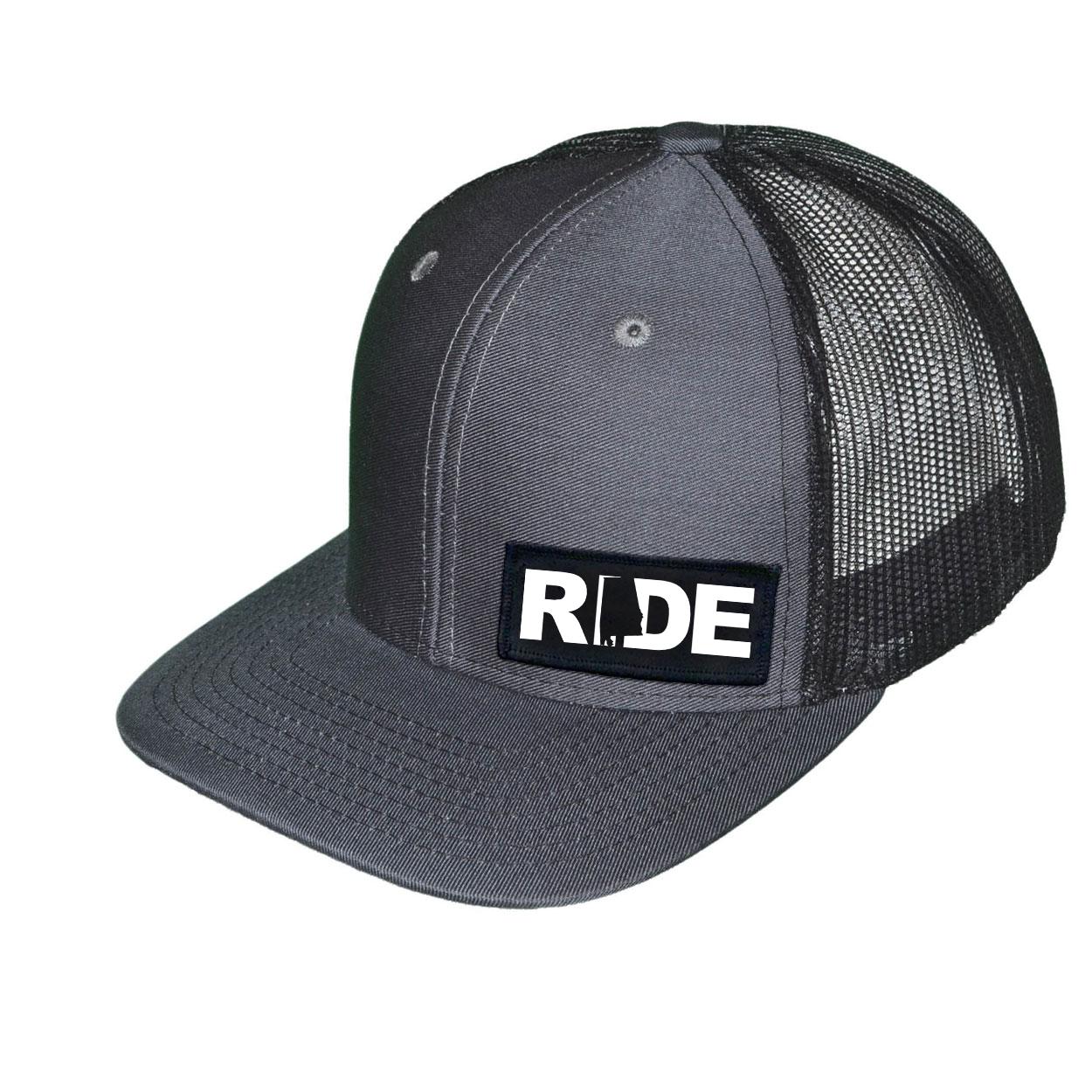 Ride Alabama Night Out Woven Patch Snapback Trucker Hat Dark Gray/Black (White Logo)