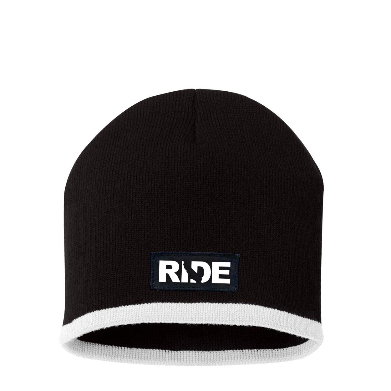 Ride California Night Out Woven Patch Skully Beanie Black/White (White Logo)