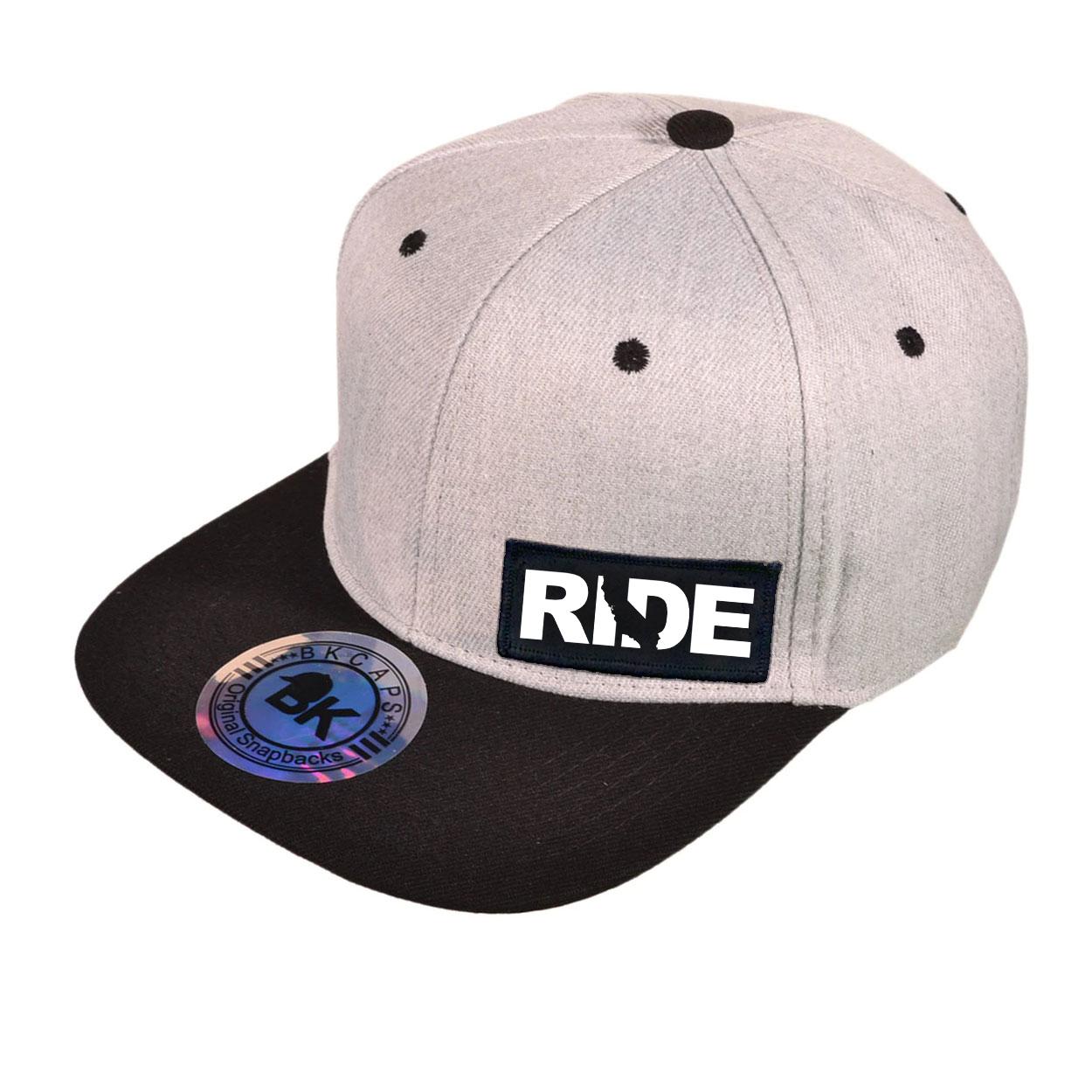 Ride California Night Out Woven Patch Snapback Flat Brim Hat Heather Gray/Black (White Logo)