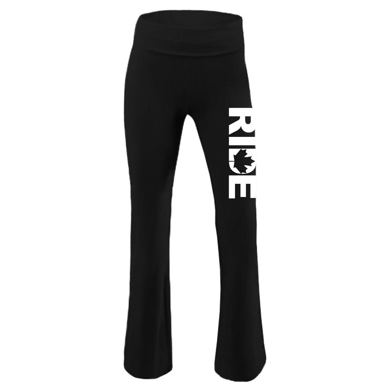 Ride Canada Classic Youth Girls Yoga Pants Black (White Logo)