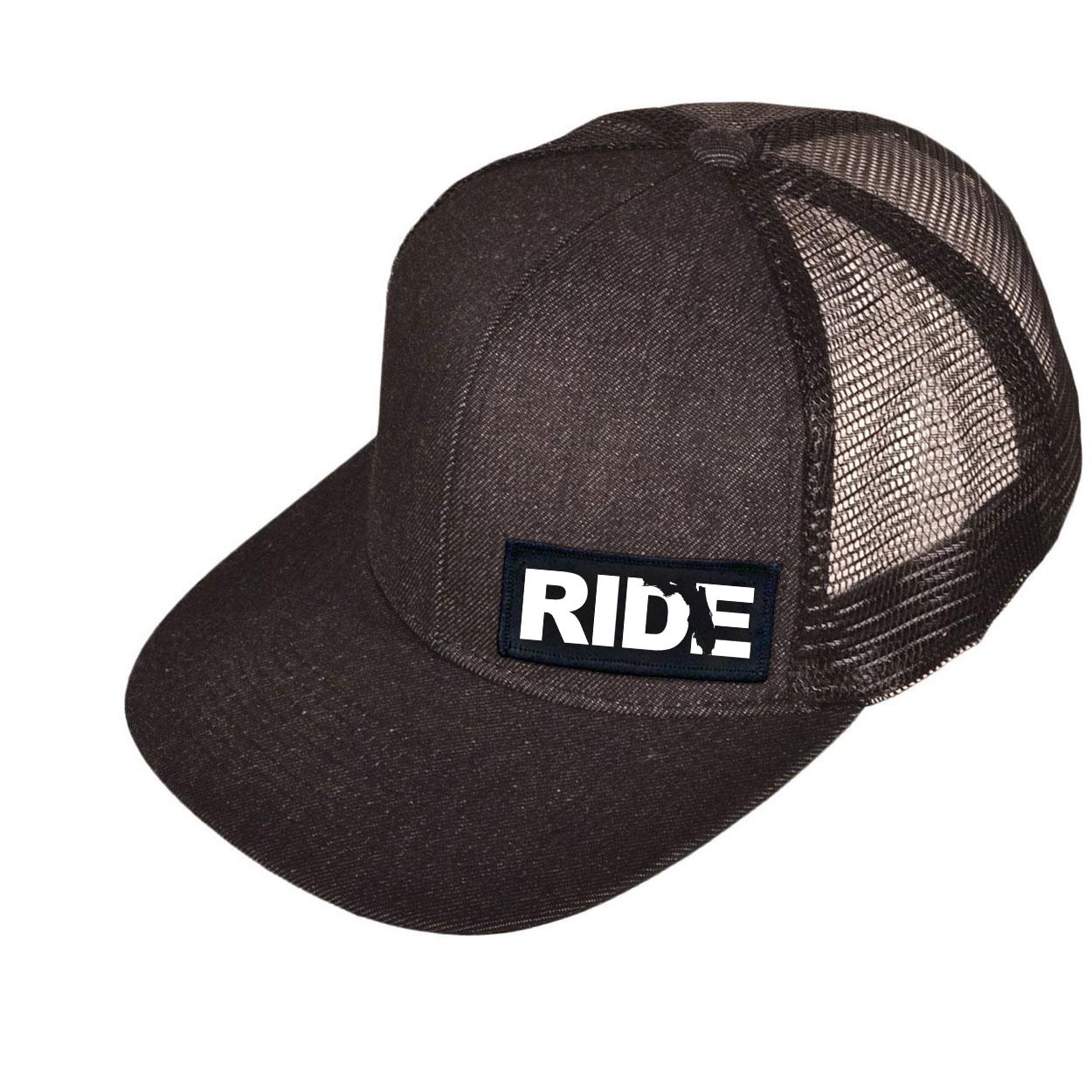 Ride Florida Night Out Woven Patch Snapback Flat Brim Hat Black Denim (White Logo)