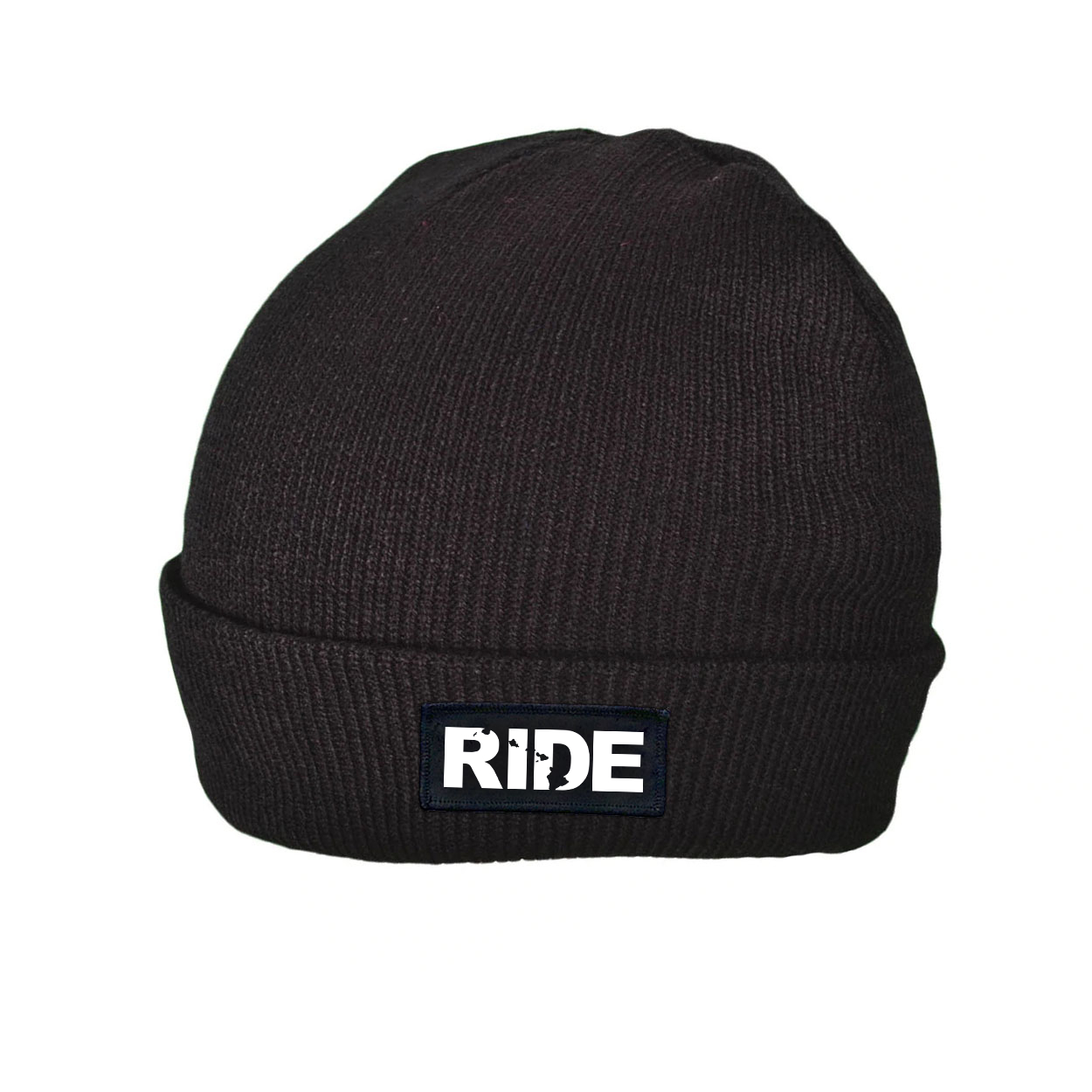 Ride Hawaii Night Out Woven Patch Roll Up Skully Beanie Black (White Logo)