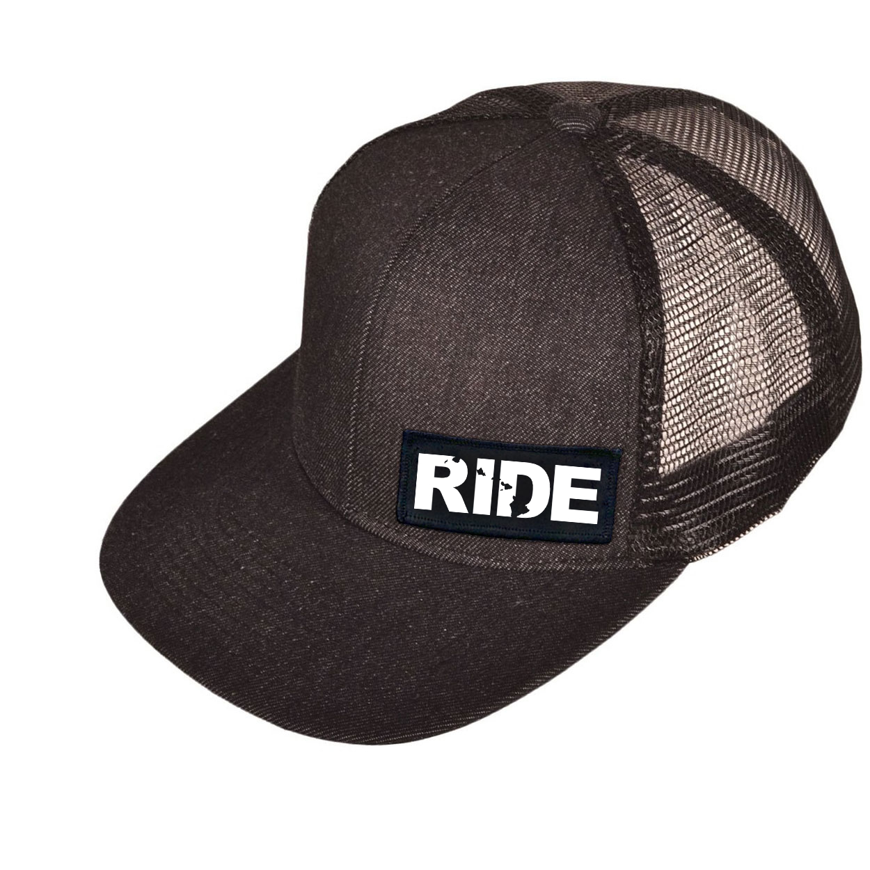 Ride Hawaii Night Out Woven Patch Snapback Flat Brim Hat Black Denim (White Logo)