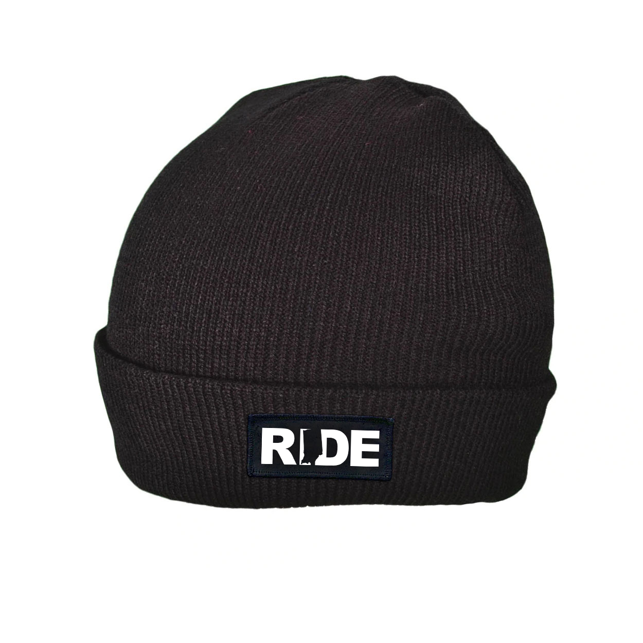 Ride Indiana Night Out Woven Patch Roll Up Skully Beanie Black (White Logo)