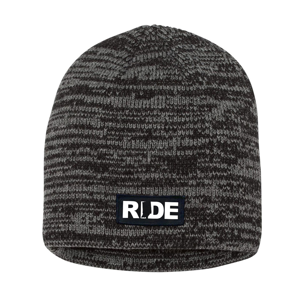Ride Indiana Night Out Woven Patch Skully Marled Knit Beanie Black/Gray (White Logo)