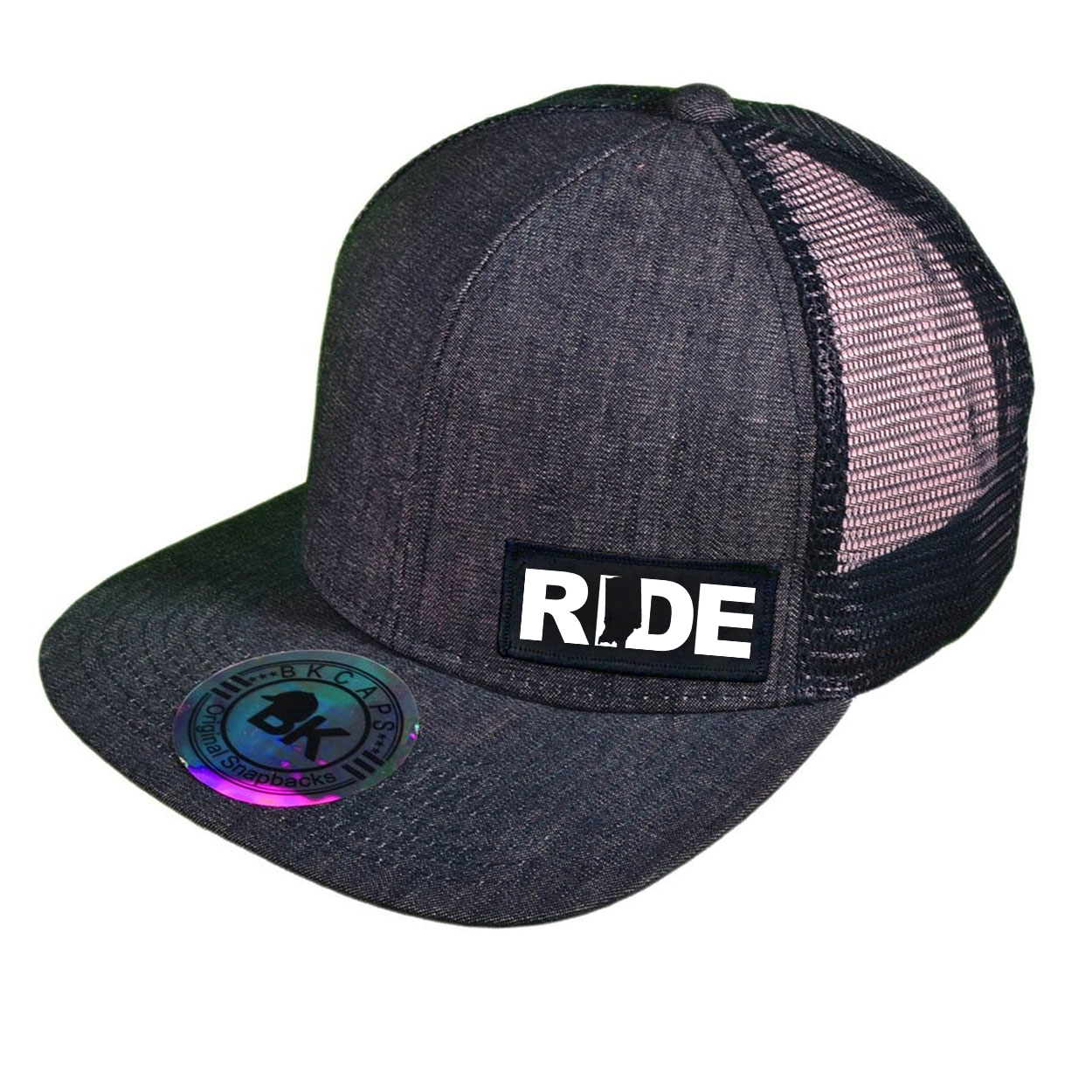 Ride Indiana Night Out Woven Patch Snapback Flat Brim Hat Dark Navy Denim (White Logo)