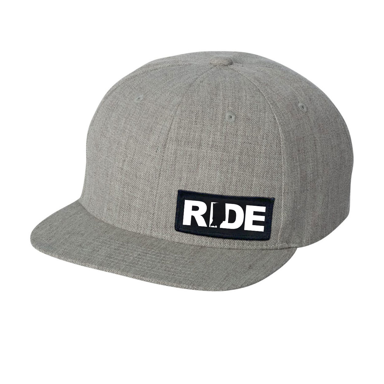 Ride Indiana Night Out Woven Patch Flat Brim Snapback Hat Heather Gray (White Logo)