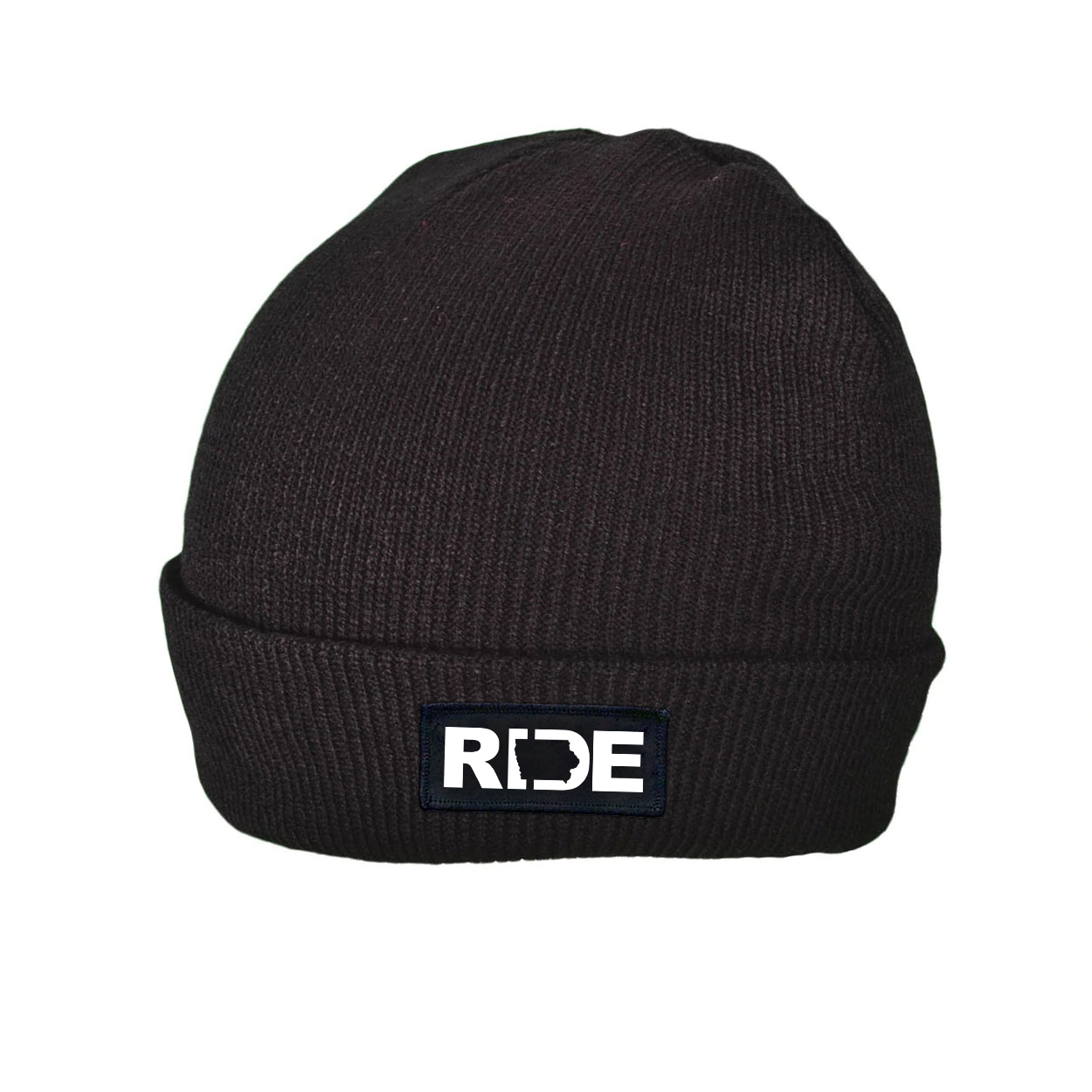 Ride Iowa Night Out Woven Patch Roll Up Skully Beanie Black (White Logo)