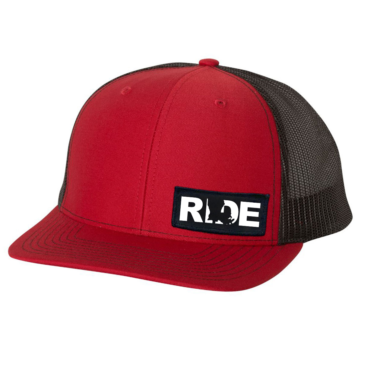 Ride Louisiana Night Out Woven Patch Snapback Trucker Hat Red/Black (White Logo)