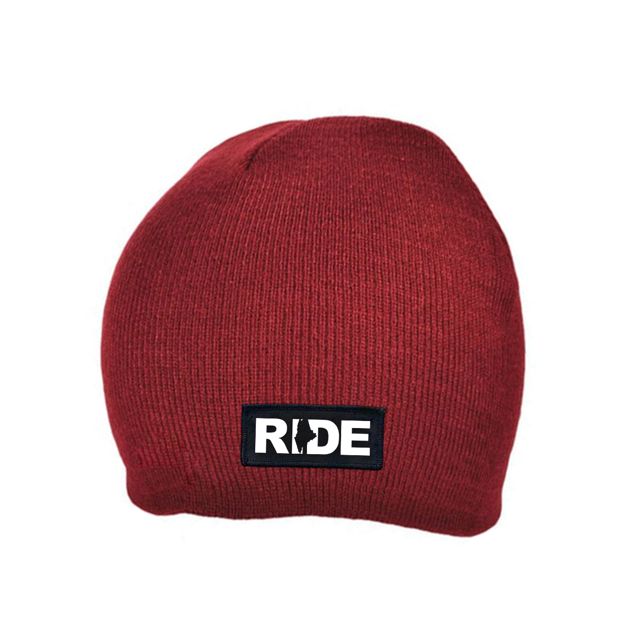 Ride Maine Night Out Woven Patch Skully Beanie Maroon (White Logo)