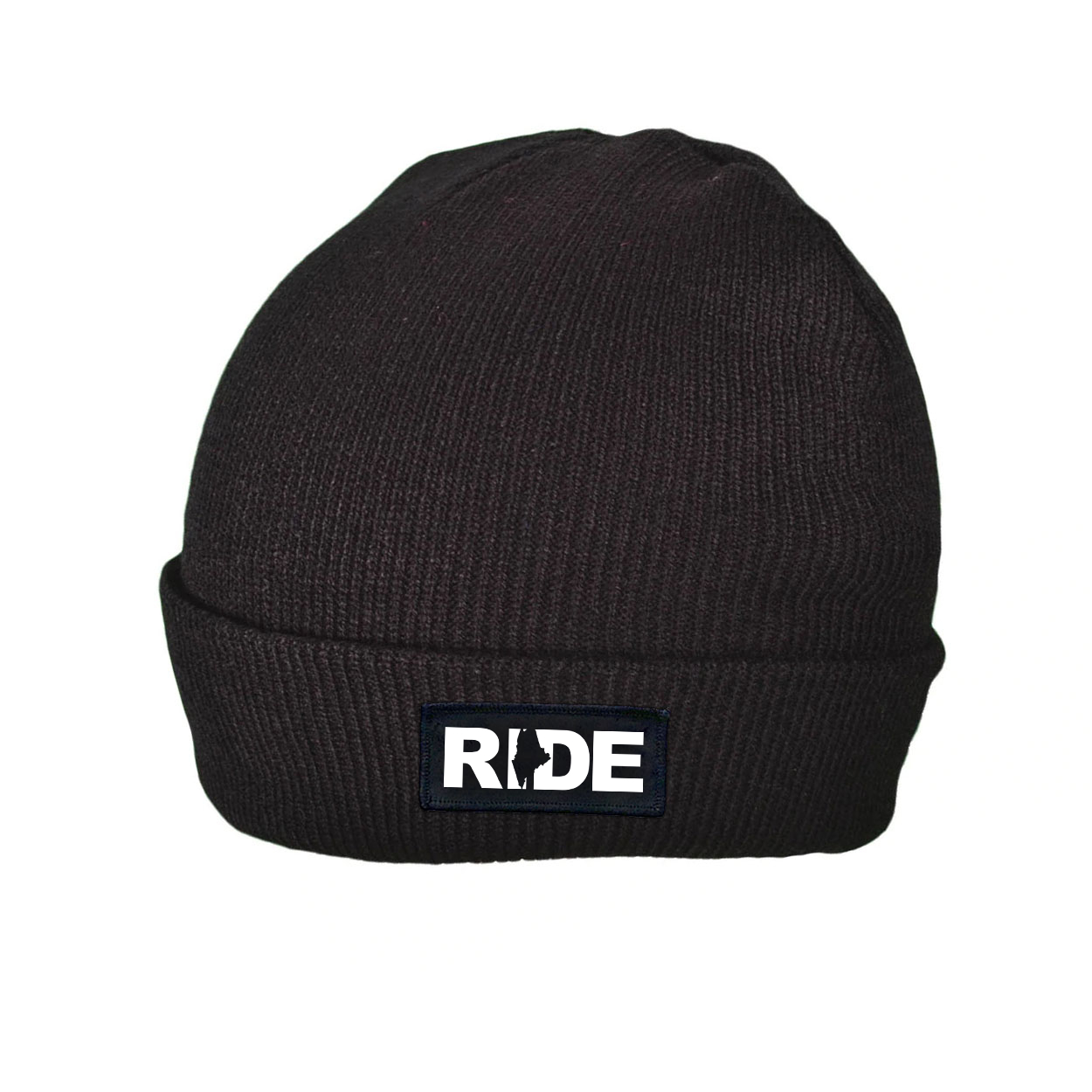 Ride Maine Night Out Woven Patch Roll Up Skully Beanie Black (White Logo)