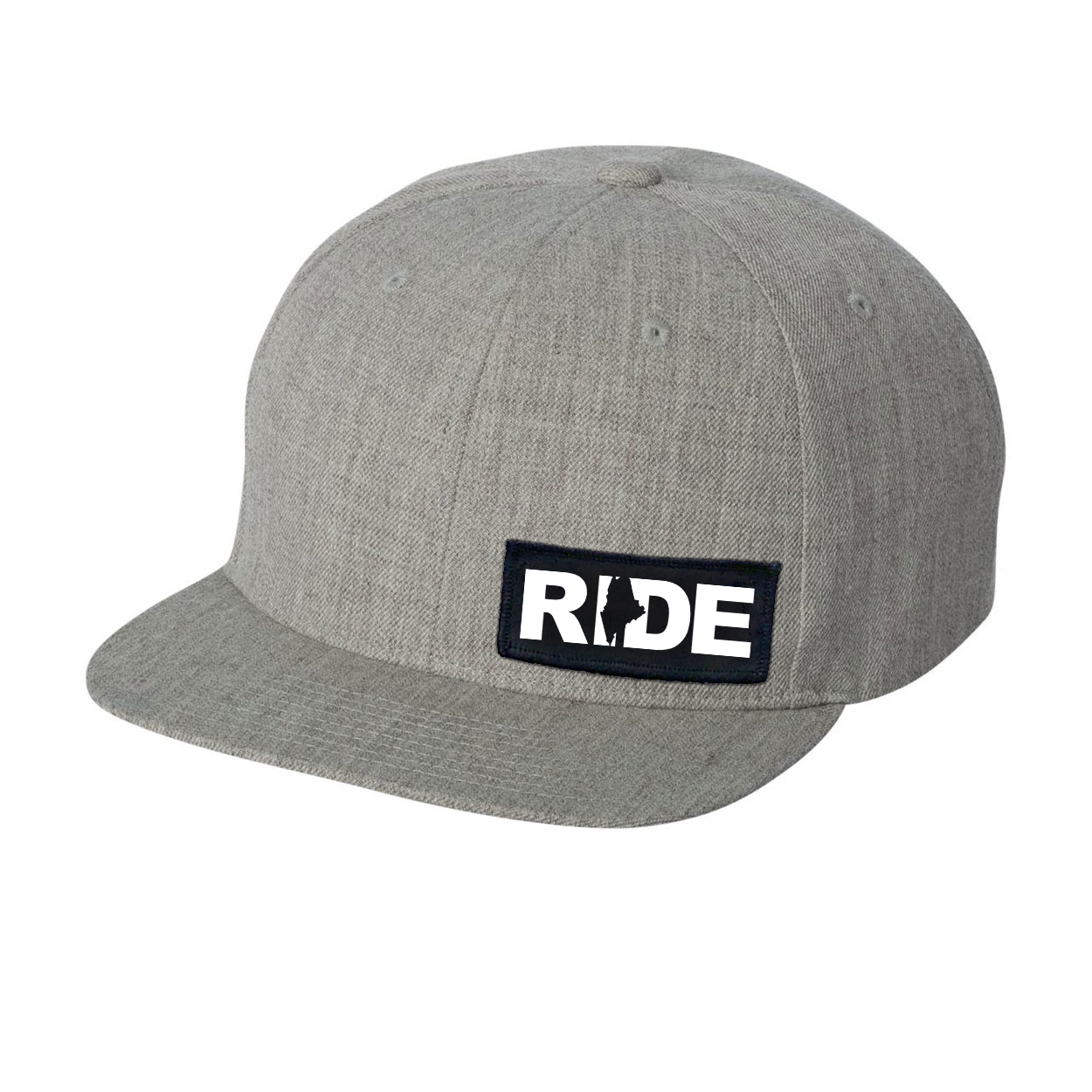 Ride Maine Night Out Woven Patch Flat Brim Snapback Hat Heather Gray (White Logo)