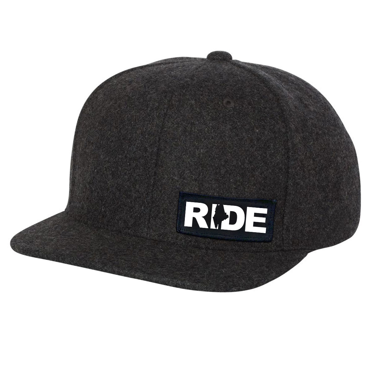 Ride Maine Night Out Woven Patch Flat Brim Snapback Hat Dark Heather Gray Wool (White Logo)
