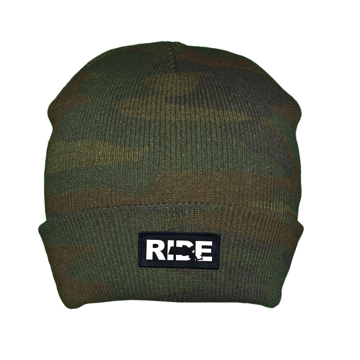 Ride Massachusetts Night Out Woven Patch Roll Up Skully Beanie Camo (White Logo)
