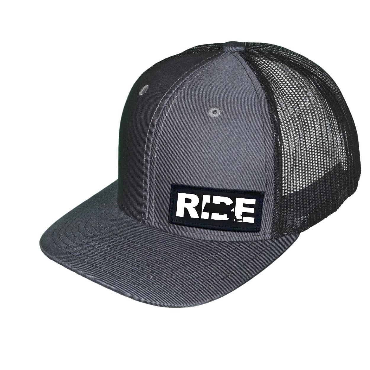 Ride Massachusetts Night Out Woven Patch Snapback Trucker Hat Dark Gray/Black (White Logo)