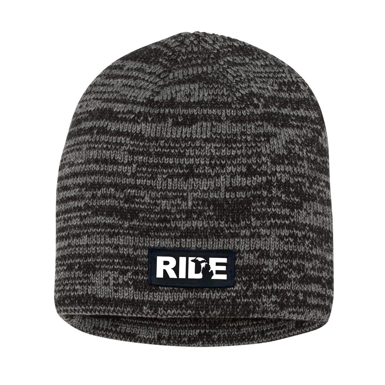 Ride Michigan Night Out Woven Patch Skully Marled Knit Beanie Black/Gray (White Logo)