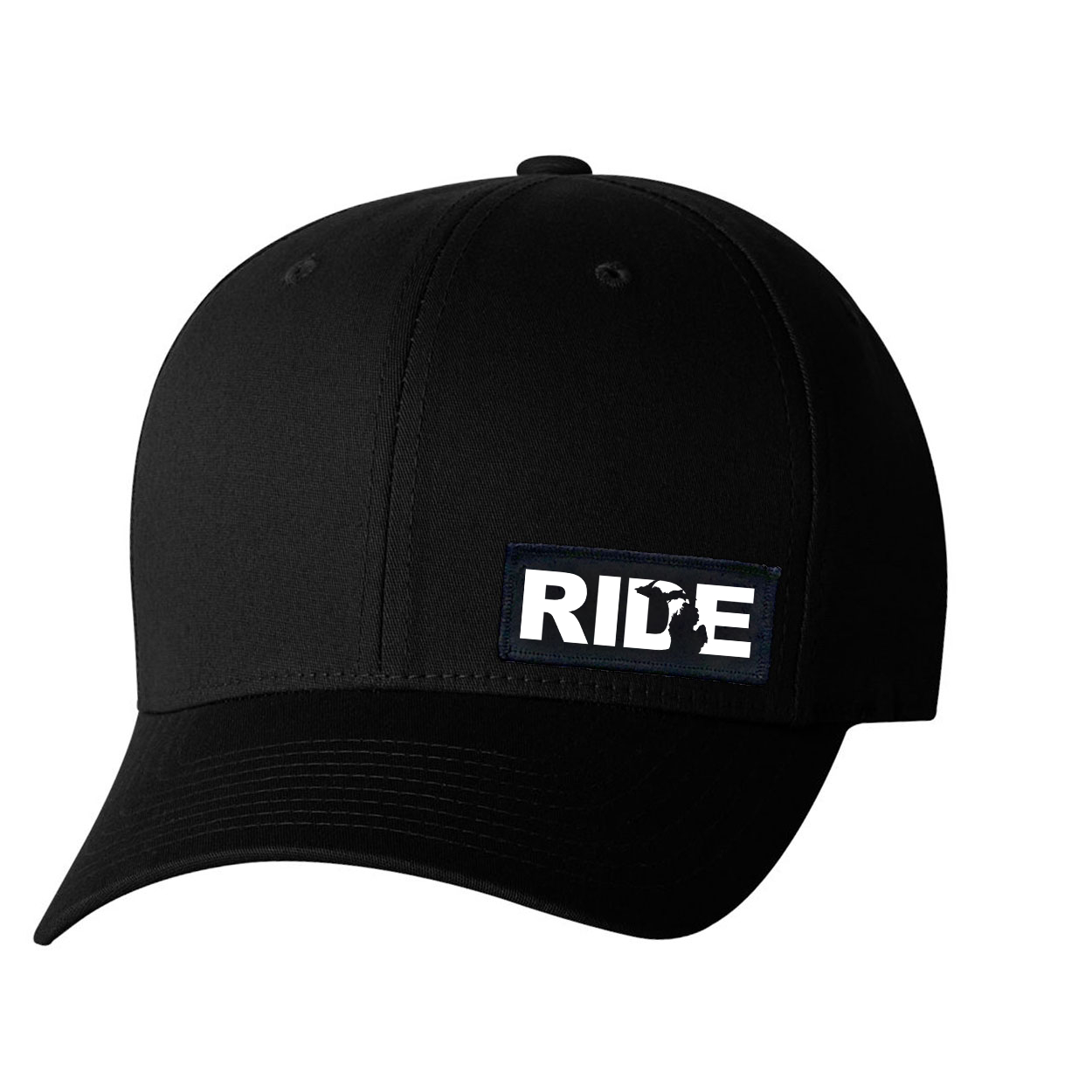 Ride Michigan Night Out Woven Patch Flex-Fit Hat Black (White Logo)