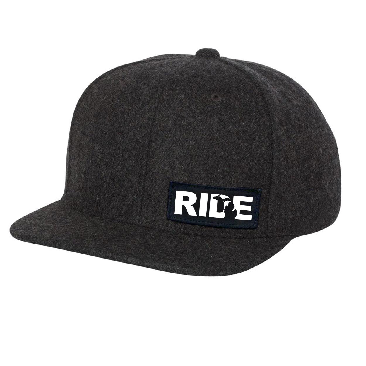 Ride Michigan Night Out Woven Patch Flat Brim Snapback Hat Dark Heather Gray Wool (White Logo)