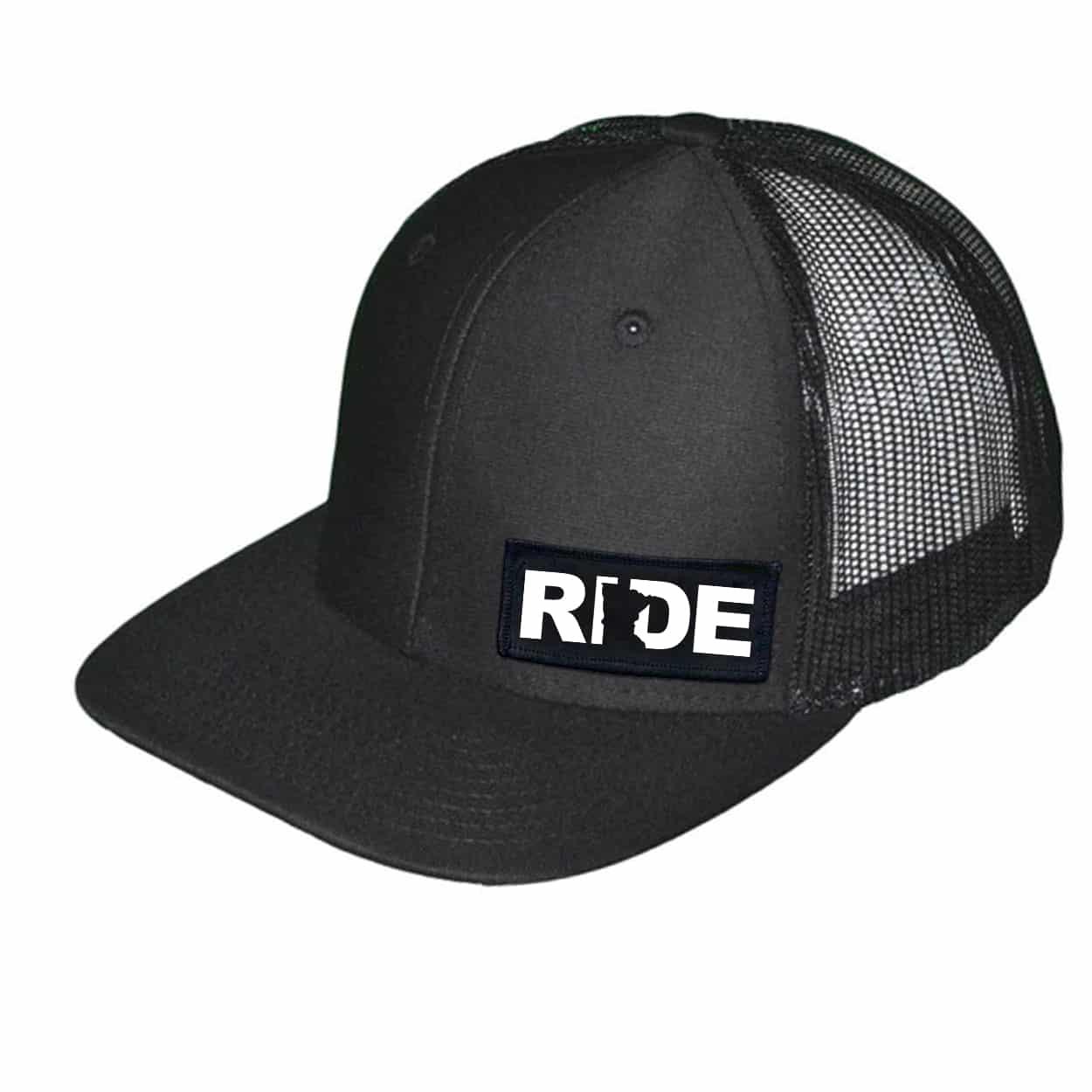 Ride Minnesota Night Out Woven Patch Snapback Trucker Hat Black (White Logo)