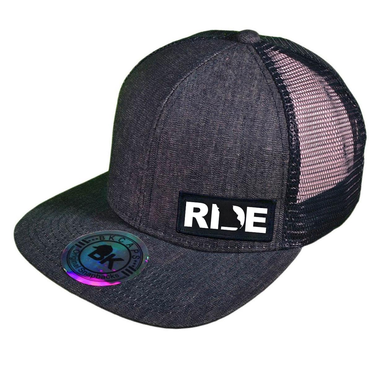 Ride Missouri Night Out Woven Patch Snapback Flat Brim Hat Dark Navy Denim (White Logo)