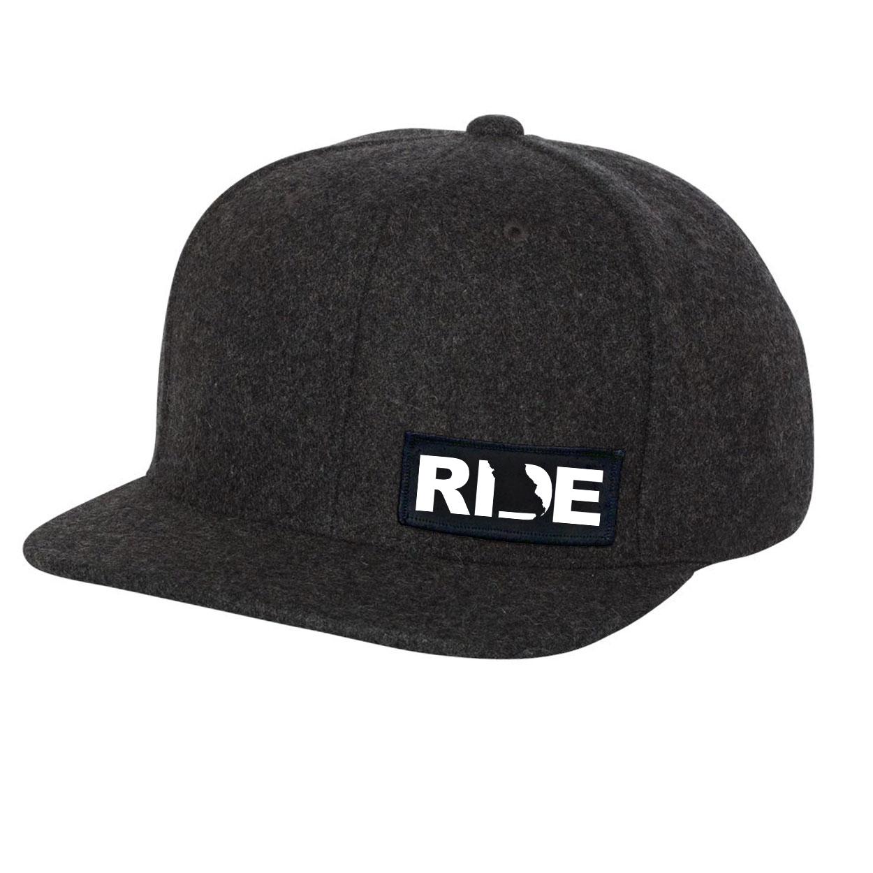 Ride Missouri Night Out Woven Patch Flat Brim Snapback Hat Dark Heather Gray Wool (White Logo)