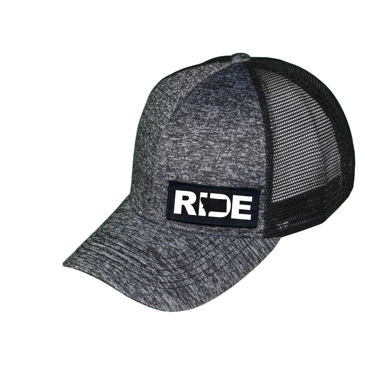 Ride Montana Night Out Woven Patch Melange Snapback Trucker Hat Gray/Black (White Logo)