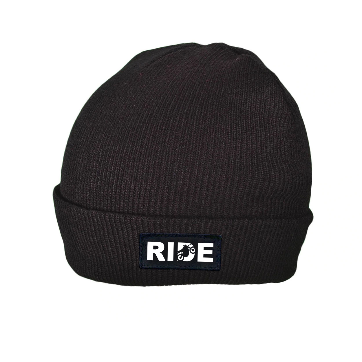 Ride Moto Logo Night Out Woven Patch Roll Up Skully Beanie Black (White Logo)
