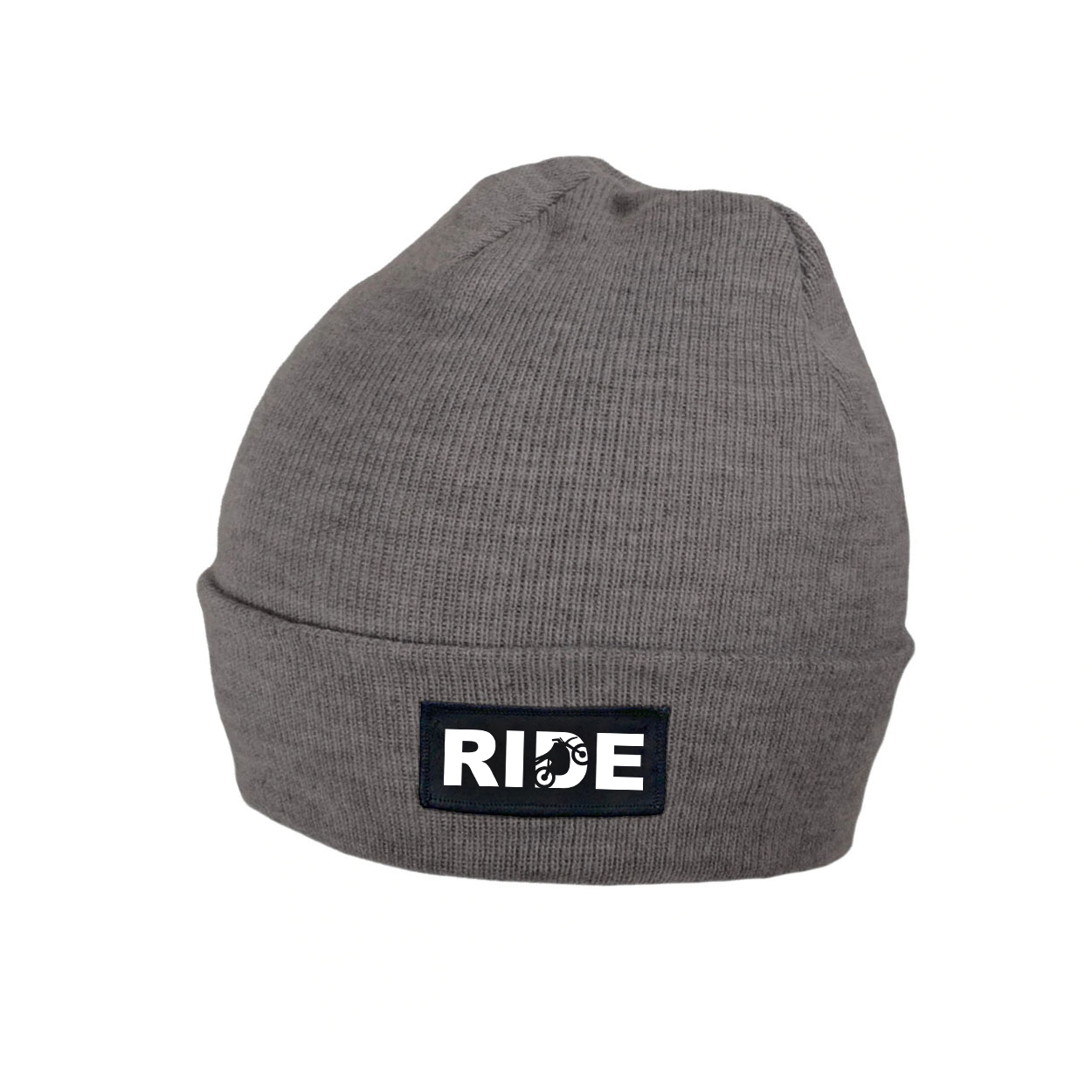 Ride Moto Logo Night Out Woven Patch Roll Up Skully Beanie Heather Gray (White Logo)