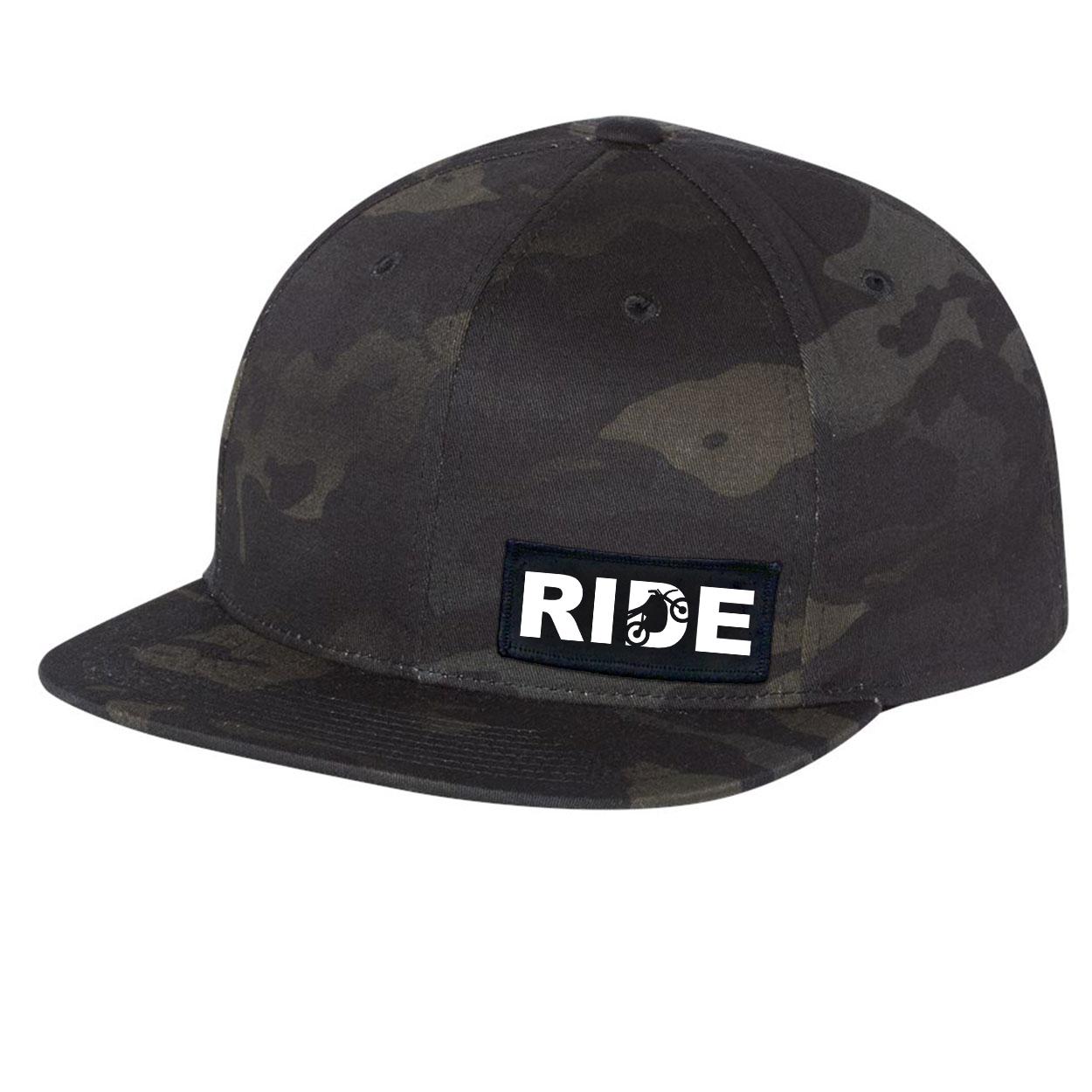Ride Moto Logo Night Out Woven Patch Flat Brim Snapback Hat Black Camo (White Logo)