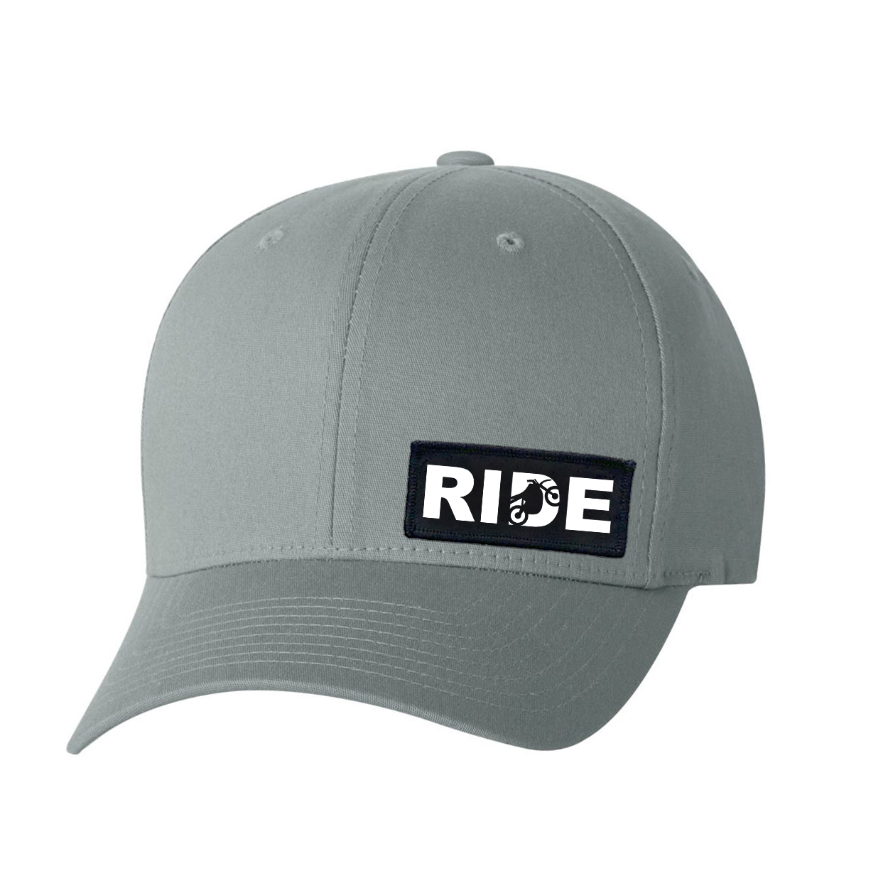 Ride Moto Logo Night Out Woven Patch Flex-Fit Hat Gray (White Logo)