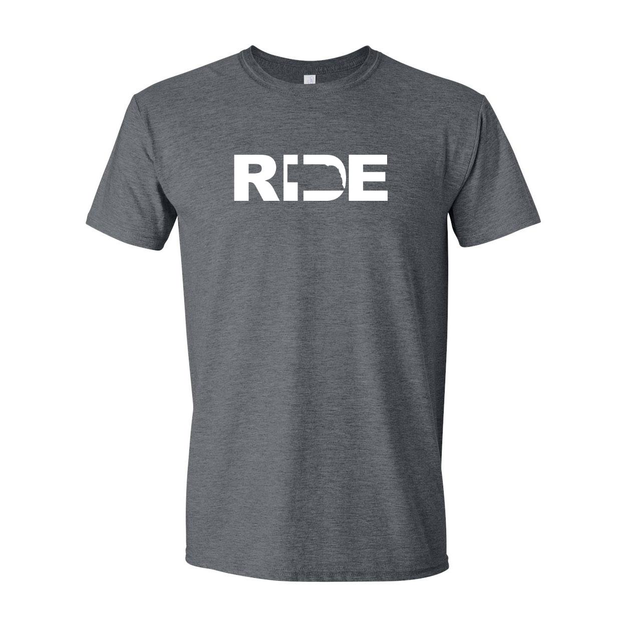 Ride Nebraska Classic T-Shirt Dark Heather Gray (White Logo)