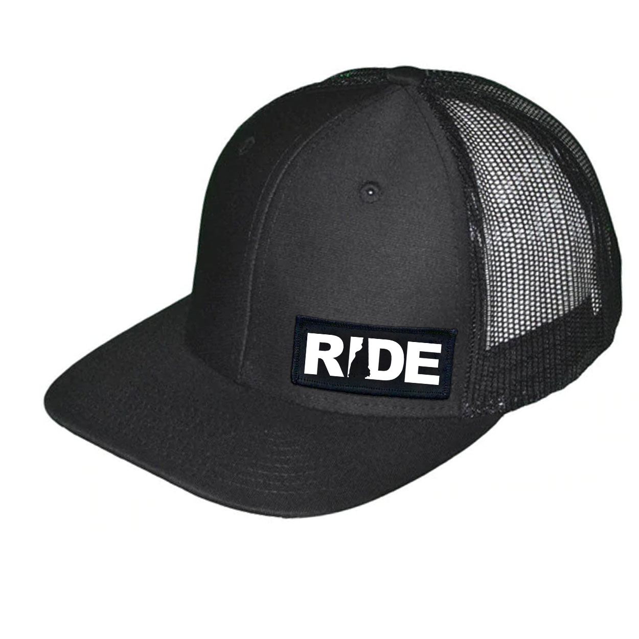 Ride New Hampshire Night Out Woven Patch Snapback Trucker Hat Black (White Logo)