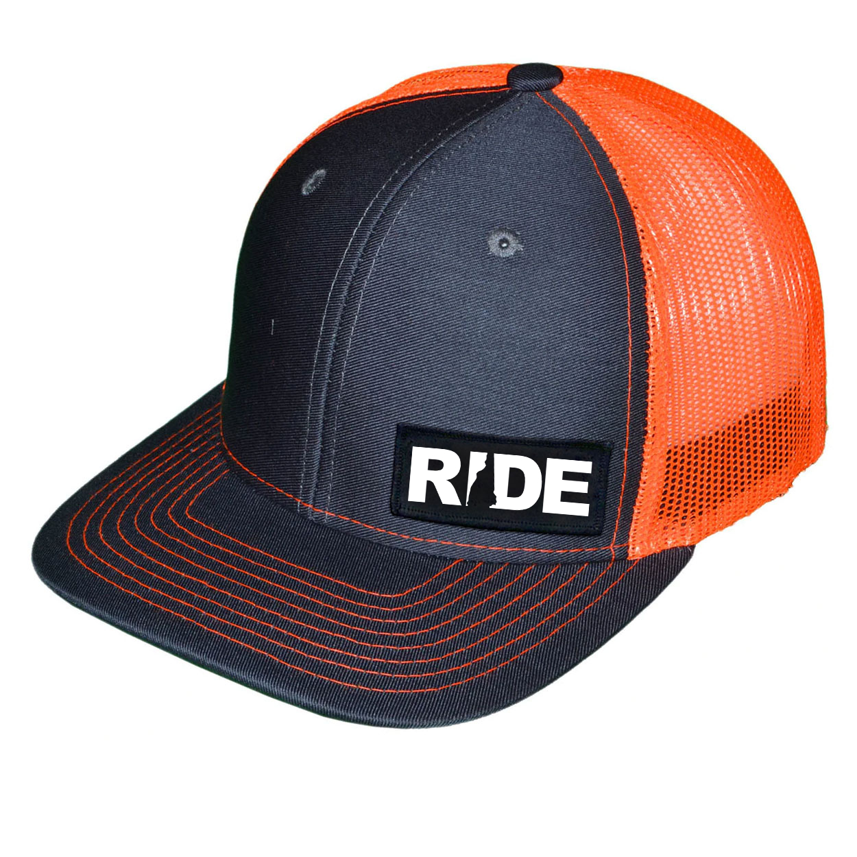 Ride New Hampshire Night Out Woven Patch Snapback Trucker Hat Dark Gray/Orange (White Logo)
