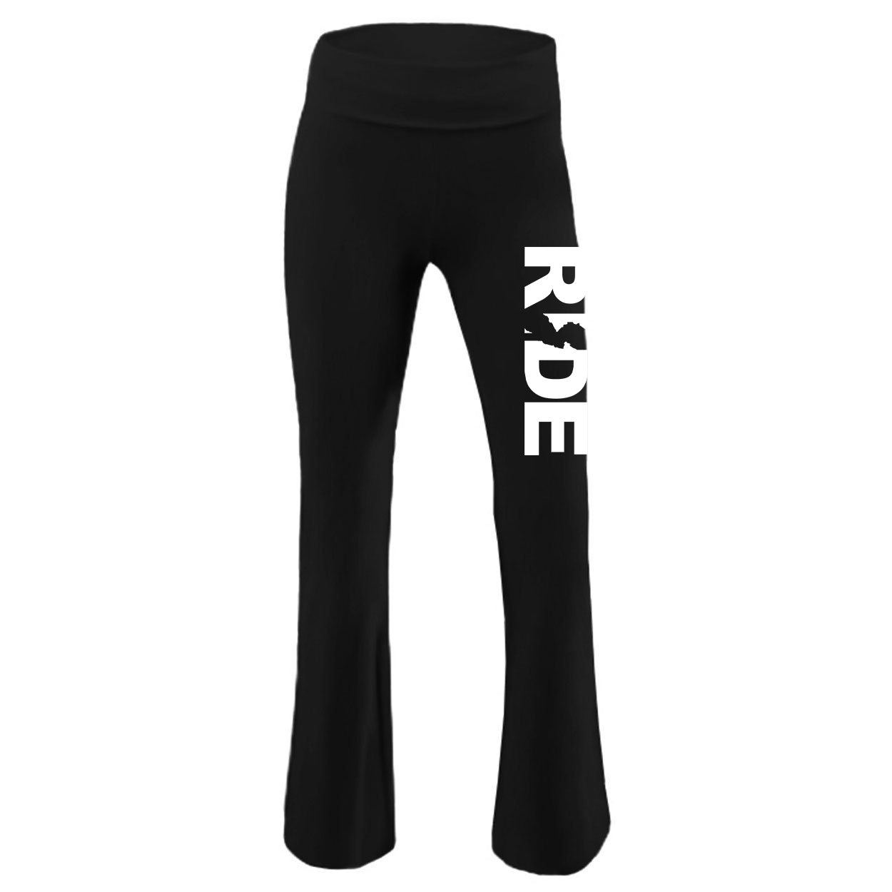 Ride New Jersey Classic Youth Girls Yoga Pants Black (White Logo)