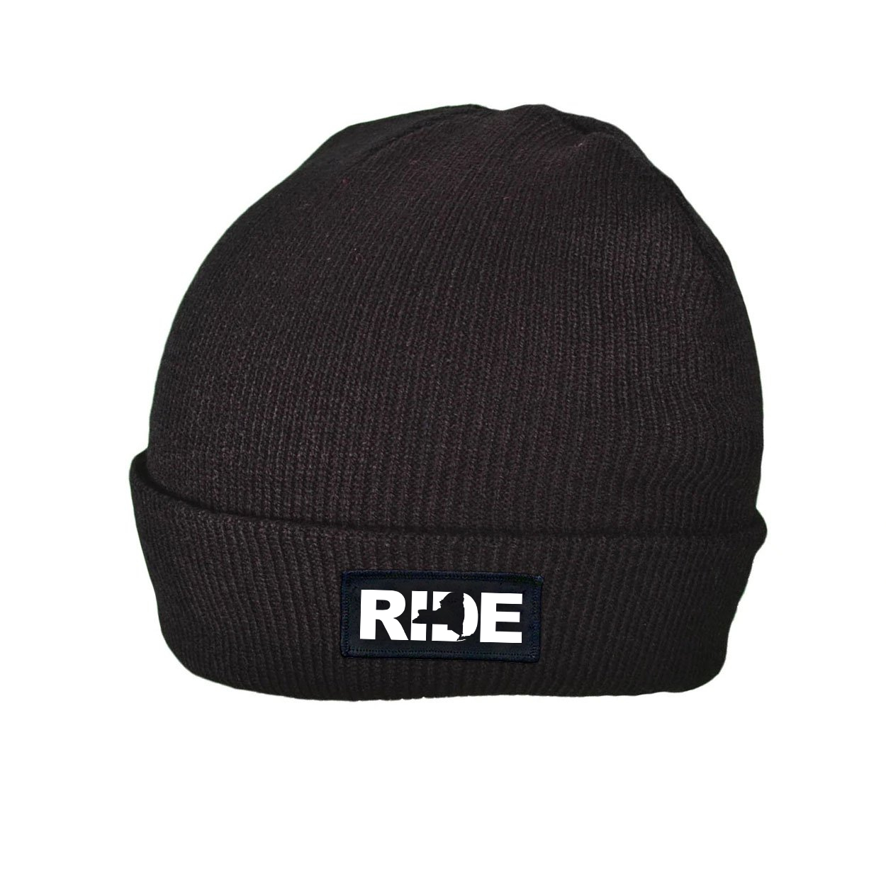 Ride New York Night Out Woven Patch Roll Up Skully Beanie Black (White Logo)