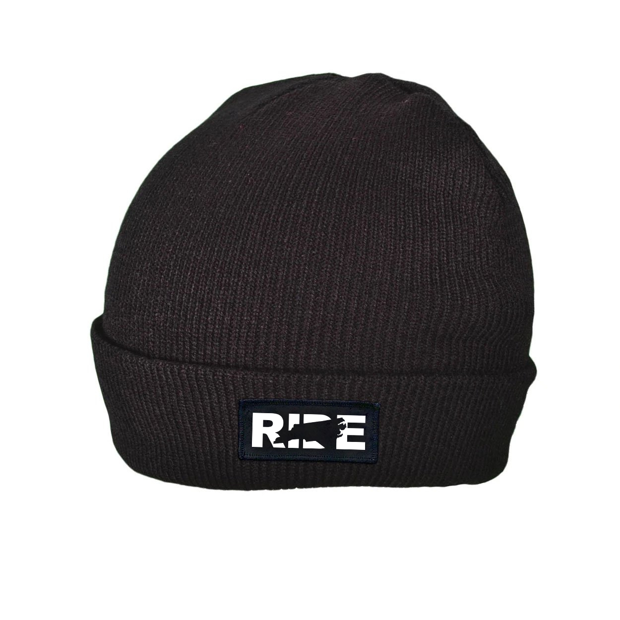 Ride North Carolina Night Out Woven Patch Roll Up Skully Beanie Black (White Logo)