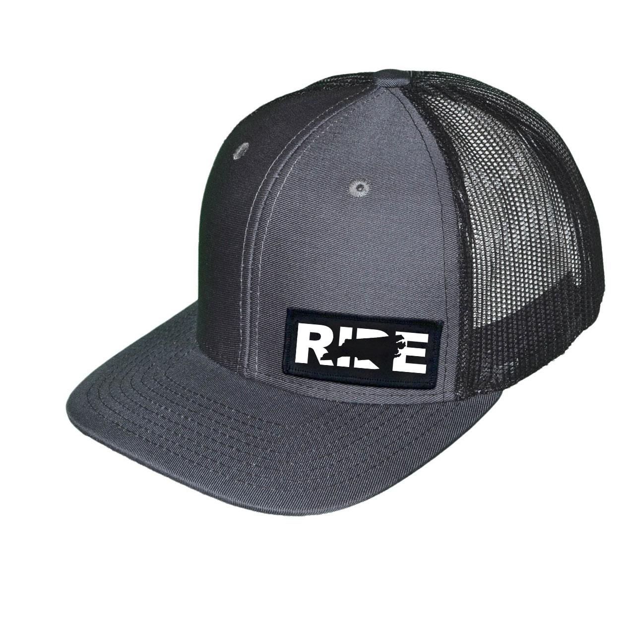 Ride North Carolina Night Out Woven Patch Snapback Trucker Hat Dark Gray/Black (White Logo)