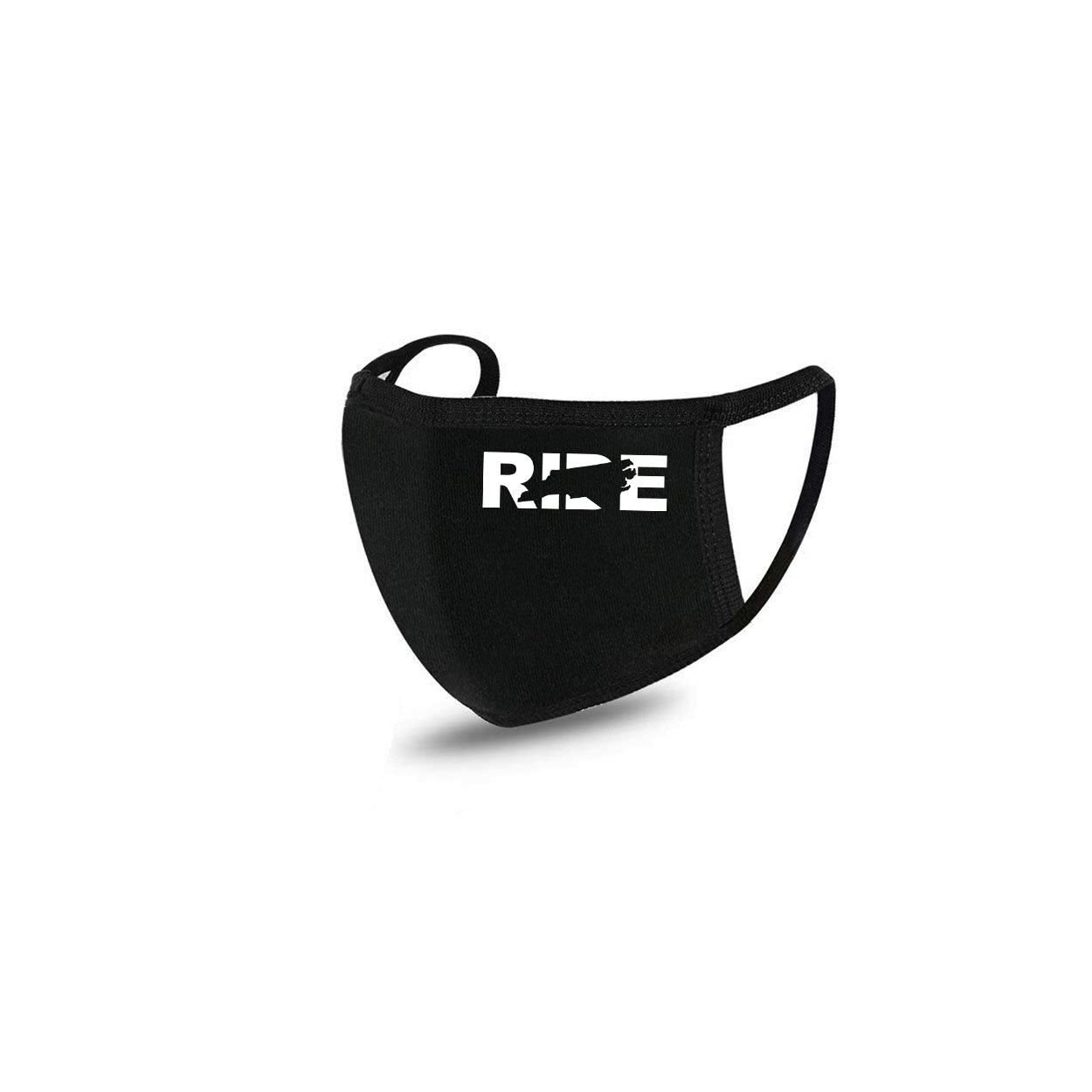 Ride North Carolina Standard Washable Face Mask Black (White Logo)