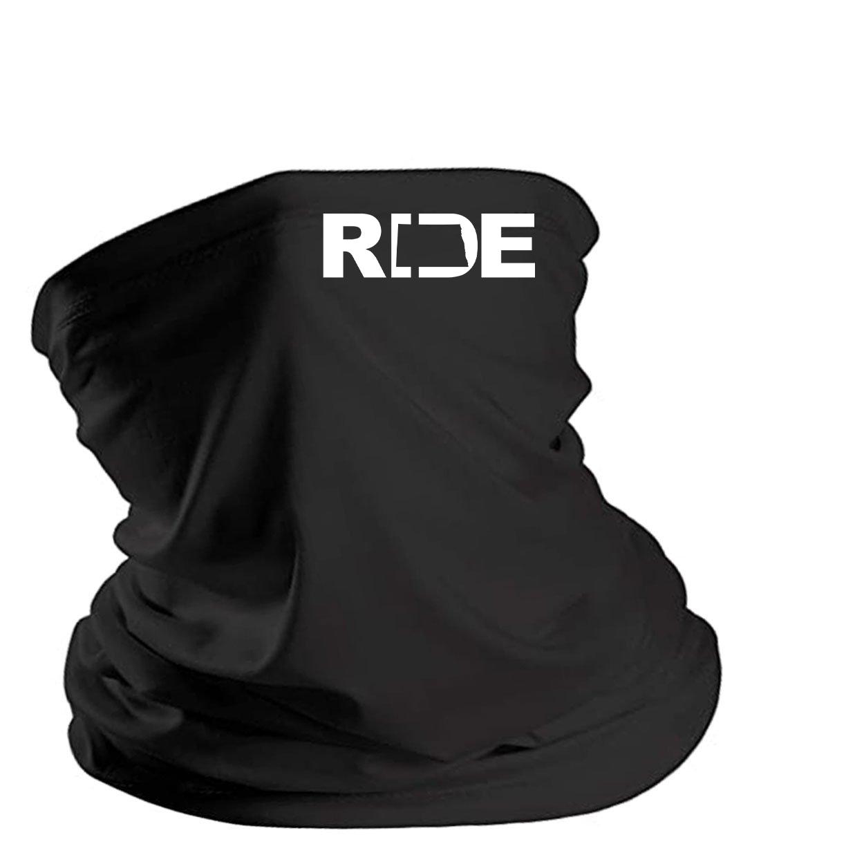 Ride North Dakota Night Out Lightweight Neck Gaiter Face Mask Black (White Logo)