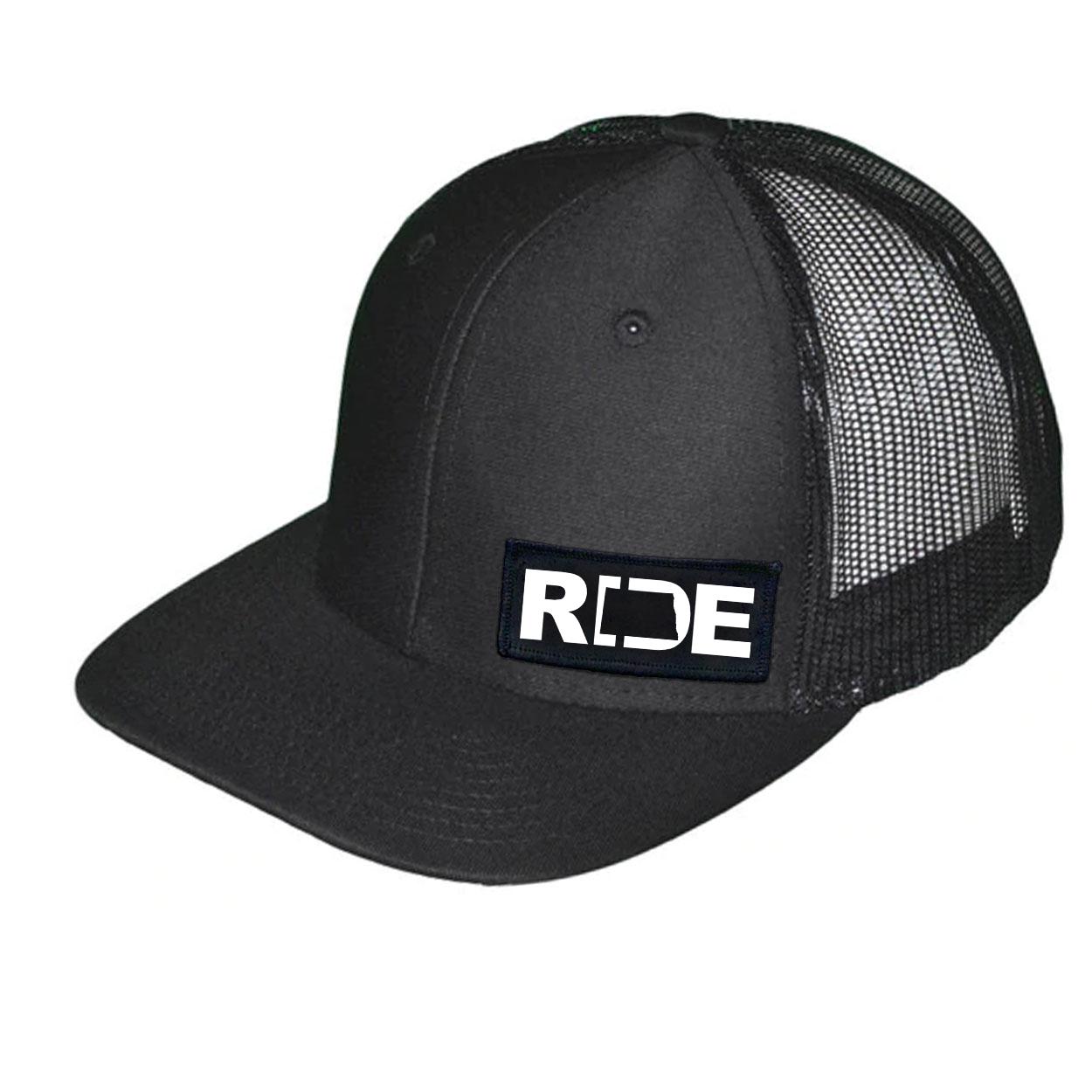 Ride North Dakota Night Out Woven Patch Snapback Trucker Hat Black (White Logo)