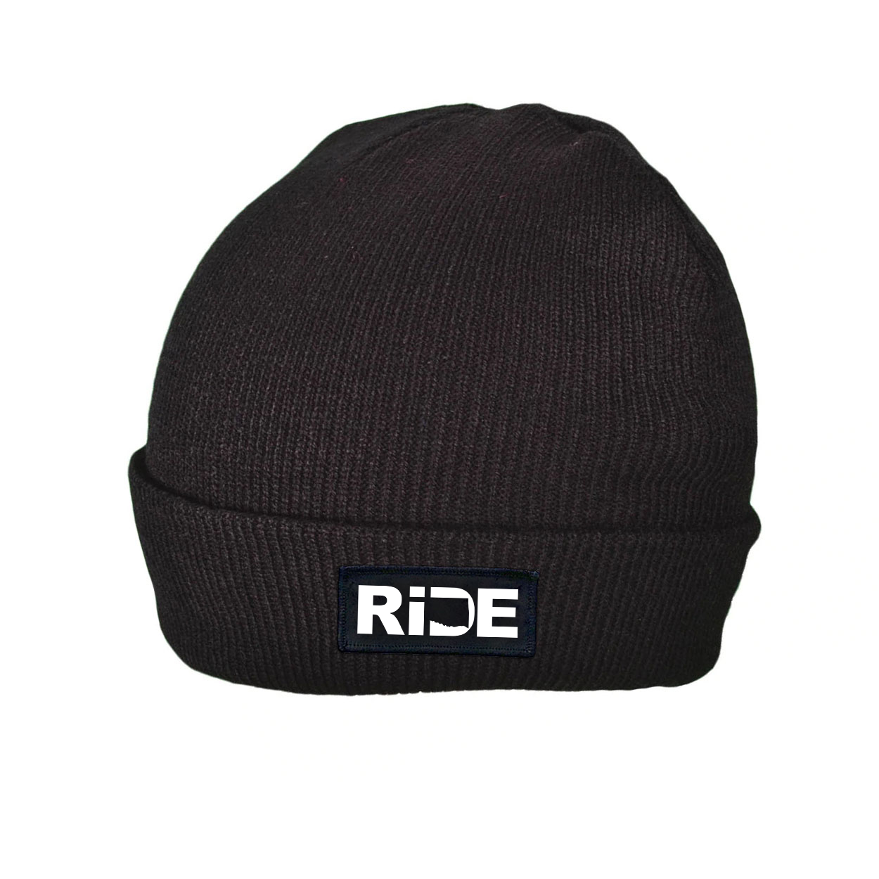 Ride Oklahoma Night Out Woven Patch Roll Up Skully Beanie Black (White Logo)