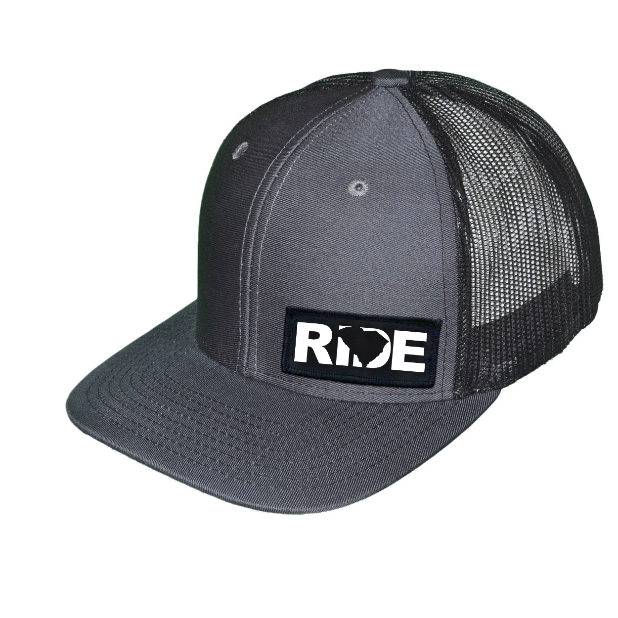Ride South Carolina Night Out Woven Patch Snapback Trucker Hat Dark Gray/Black (White Logo)