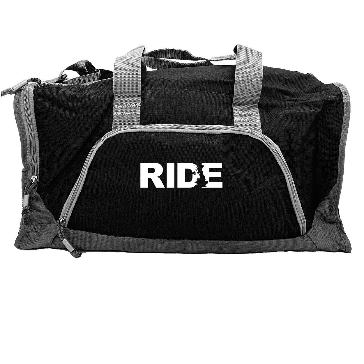 Ride United Kingdom Classic Rangeley Sport Duffel Bag Black (White Logo)