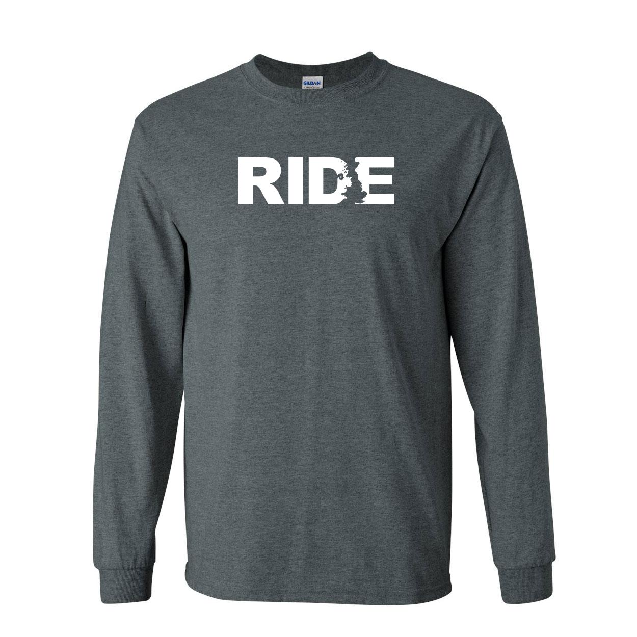 Ride United Kingdom Classic Long Sleeve T-Shirt Dark Heather (White Logo)