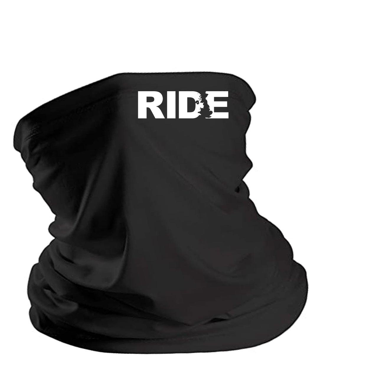 Ride United Kingdom Night Out Lightweight Neck Gaiter Face Mask Black (White Logo)