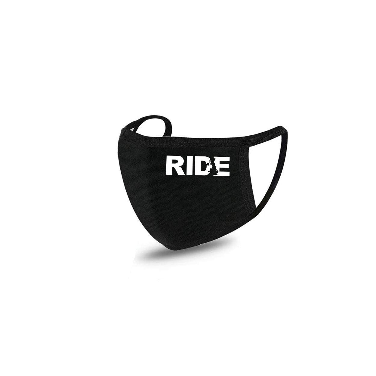 Ride United Kingdom Standard Washable Face Mask Black (White Logo)