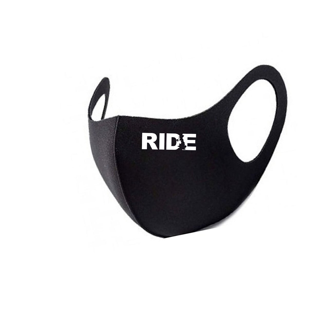 Ride United Kingdom Night Out Fitted Washable Face Mask Black (White Logo)