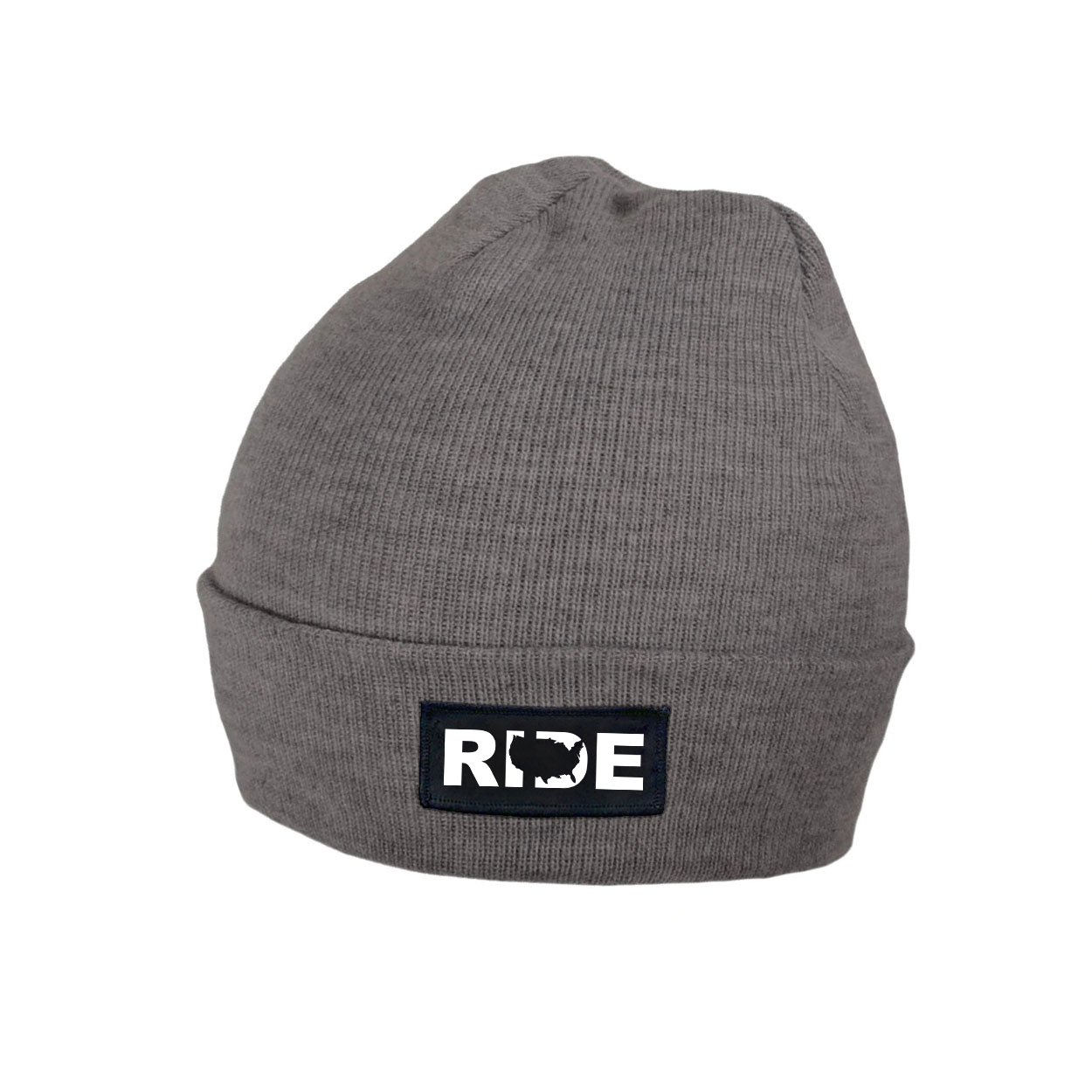 Ride United States Night Out Woven Patch Roll Up Skully Beanie Heather Gray (White Logo)