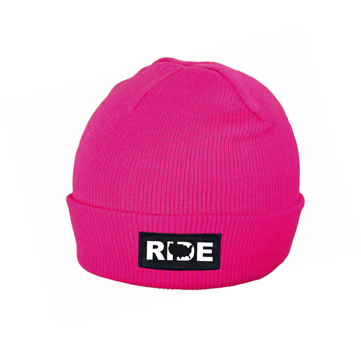 Ride United States Night Out Woven Patch Roll Up Skully Beanie Heather Fuchsia (White Logo)